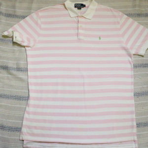 Polo by Ralph Lauren Shirts - Vintage Pink White Striped POLO by Ralph Lauren